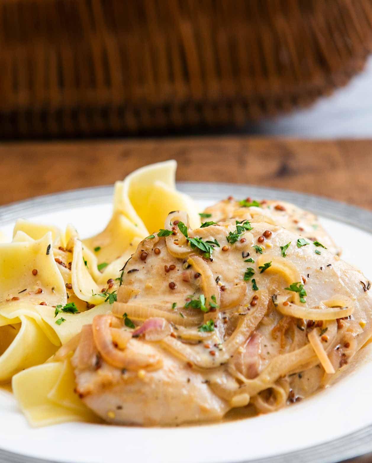 Creamy Dijon Mustard Chicken Recipe Simplyrecipes Com Recipe Mustard Chicken Recipes Dijon Chicken Dijon Mustard Chicken