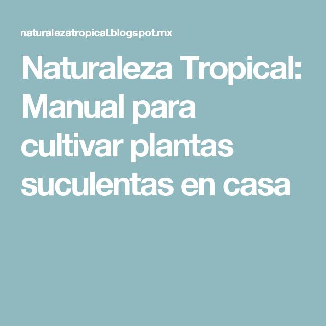 Naturaleza Tropical: Manual para cultivar plantas suculentas en casa