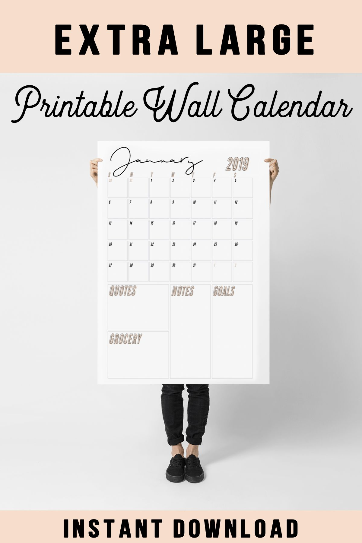 Large Wall Calendar 2019 Wall Calendar Monthly Wall Calendar