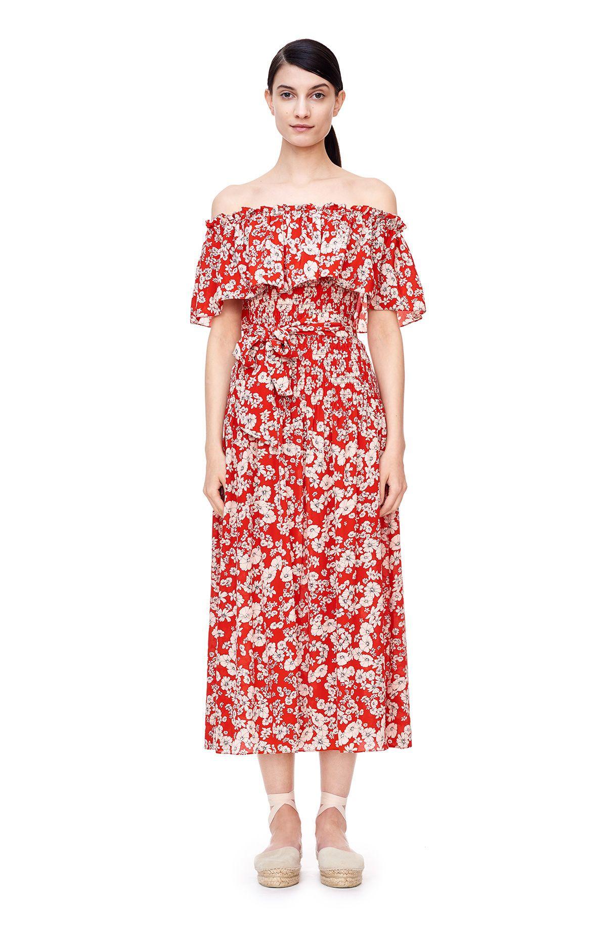 Off-The-Shoulder Cherry Blossom Dress   Cherry blossoms, Printed ...