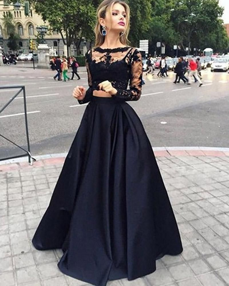 5e0927747a5d Girls Crop Top Long Senior Graduation Prom Gown Black Prom Homecoming Dress  with Long Sleeve DP085