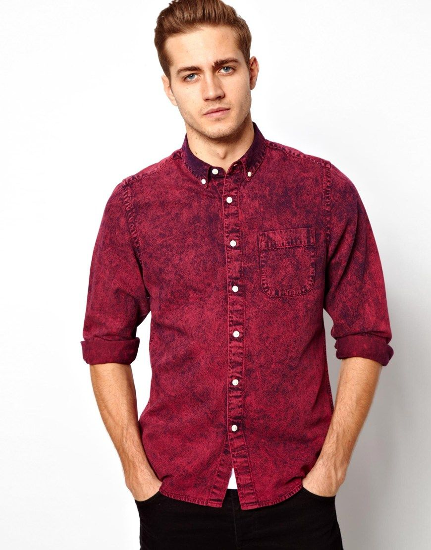 f7c6a93b5bbf Mens Red Denim Shirt   and   Denim shirt, Denim, Latest fashion clothes