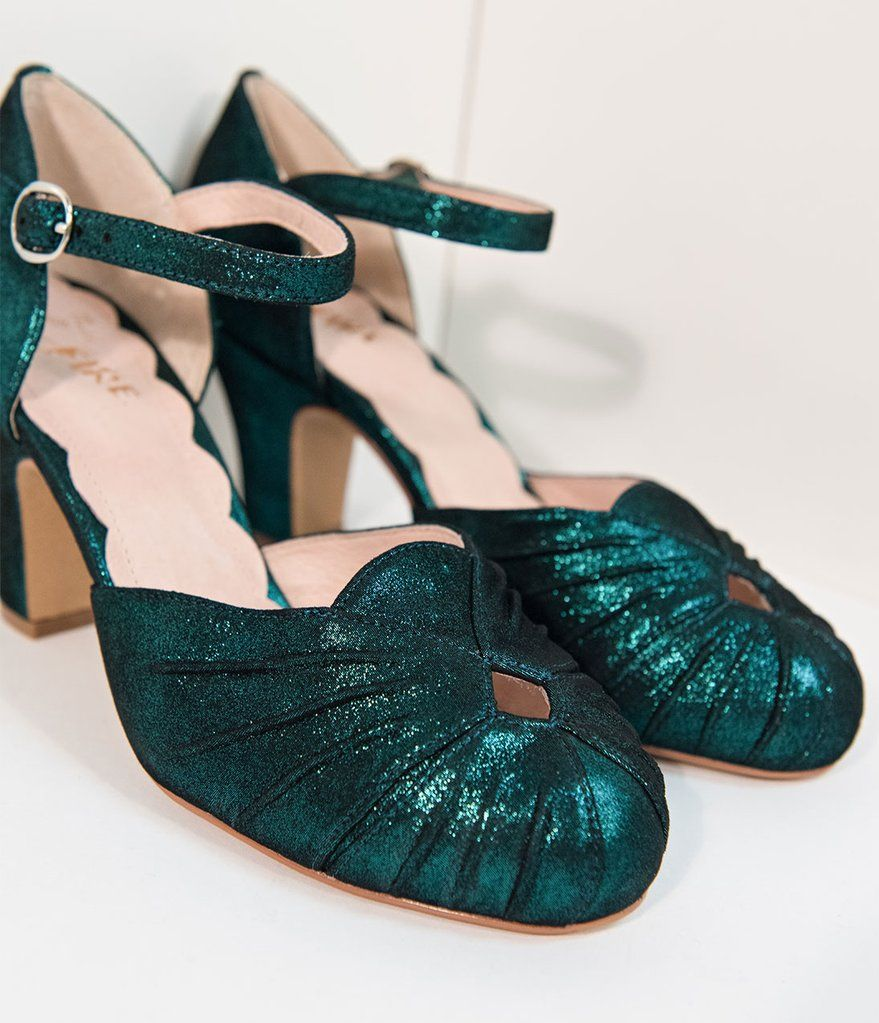 3be84958eec Miss L Fire 1940s Style Emerald Green Sparkle Keyhole Amber Heels in ...