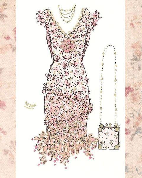 One of my little dress sketches ♡ I love the tiny purse :) #jenneliserose #originalart #drawing #illustration #fashionillustration #dressdrawing #pinkdress #pink