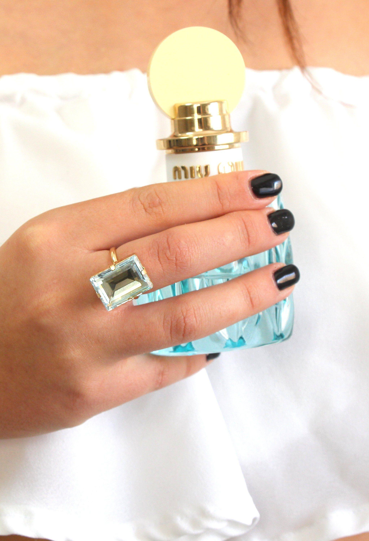 Aquamarine Crystal Ring Emerald Cut Swarovski Ring  4d24f913ac