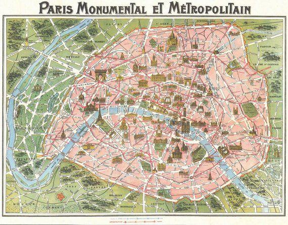 Paris On Map Of Europe.Vintage Paris Tourist Map Paris Monumental Et Metro Europe Antique