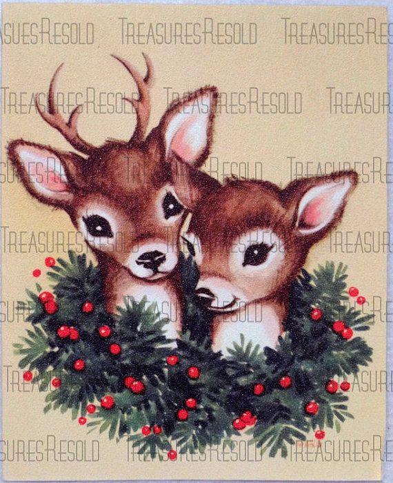 Retro Vintage Reindeer Christmas Card #411 Digital Download #reindeerchristmas