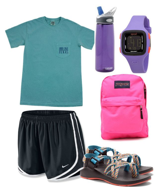 """Love that Pine Cove camp!!"" by laurenmiller23 ❤ liked on Polyvore featuring NIKE, Chaco, JanSport, CamelBak and Rip Curl"