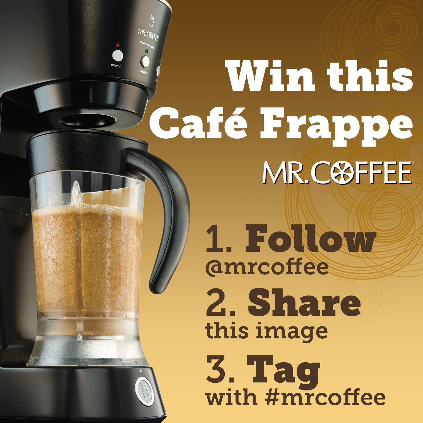 Would you love to win a Mr. Coffee® Café Frappe? Follow us
