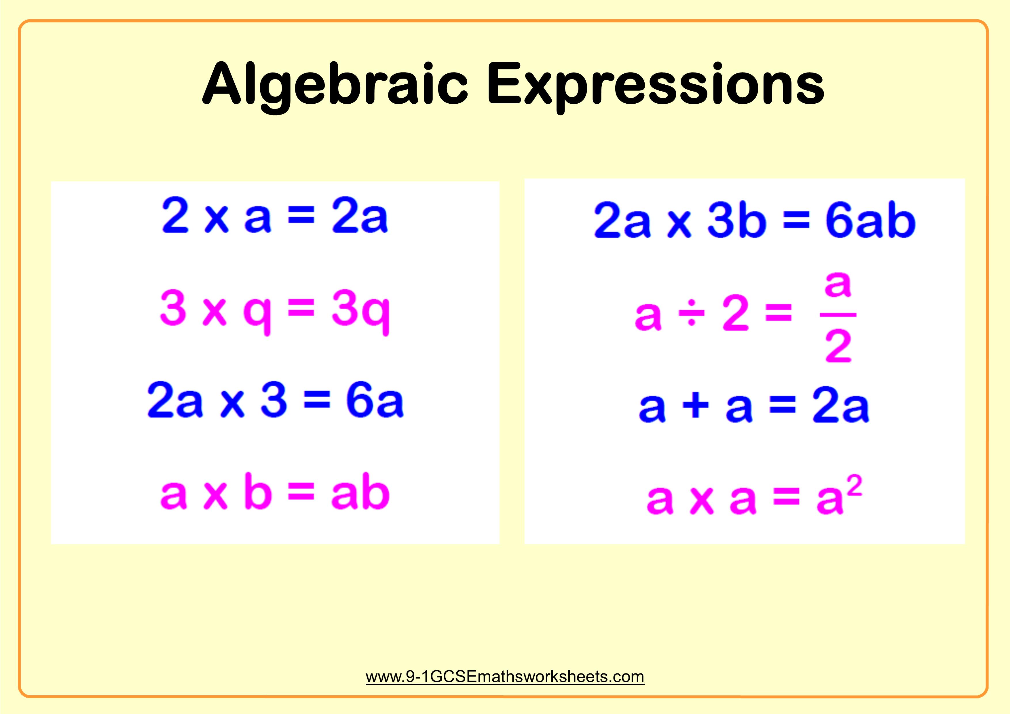 Simplifying Algebraic Expressions Example Gcse Maths Worksheets