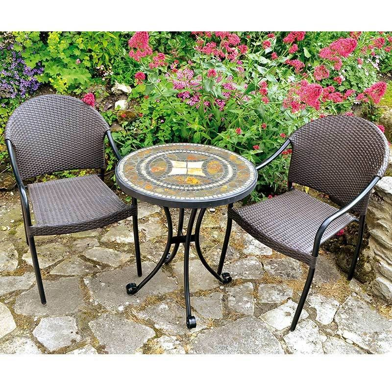 Garden Furniture 2 Armchairs & 60cm Round Bistro Table Set Elegant ...