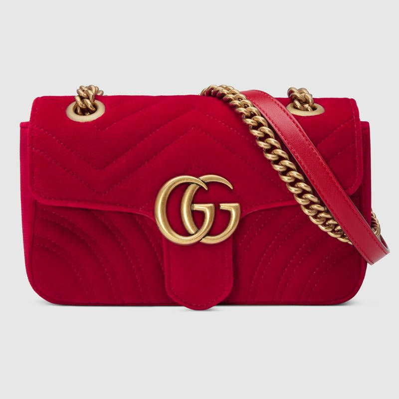 Pink Small Velvet GG Marmont 2.0 Bag Gucci