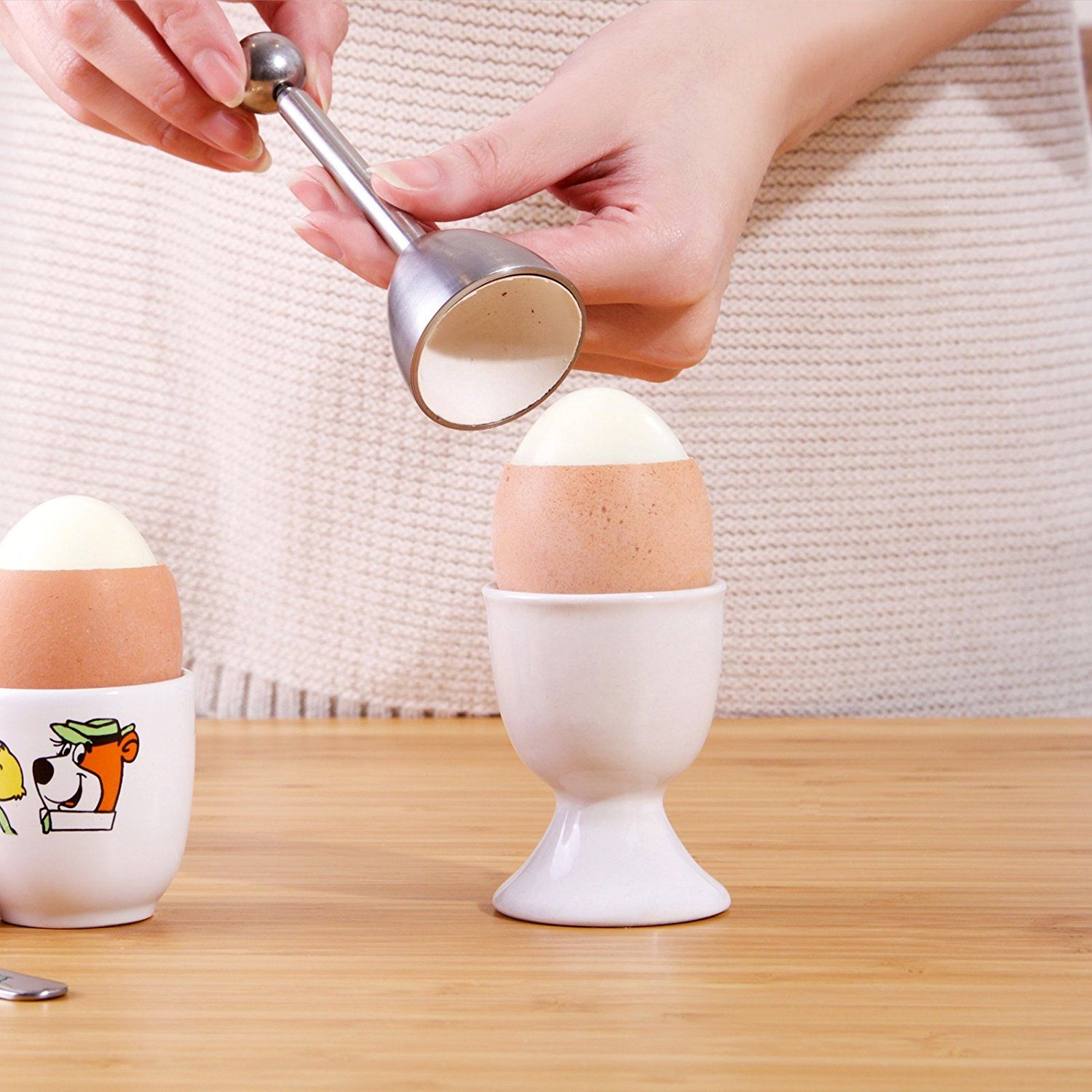 Silver Stainless Steel ICO Egg Topper and Cracker for Perfect Soft Boiled Eggs