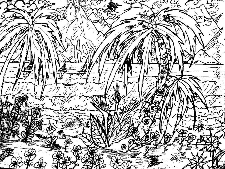 Landscape Coloring Pages For Adults Tropical Beach