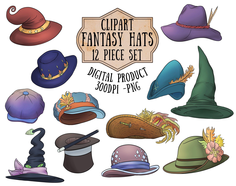 Hats Clipart Magic Hat Fantasy Hats Png Wizard Hat Clipart Witch Hat Clipart Pirate Hat Clipart Digital Scrapbooking In 2021 Clip Art Cartoon Clip Art Magic Hat