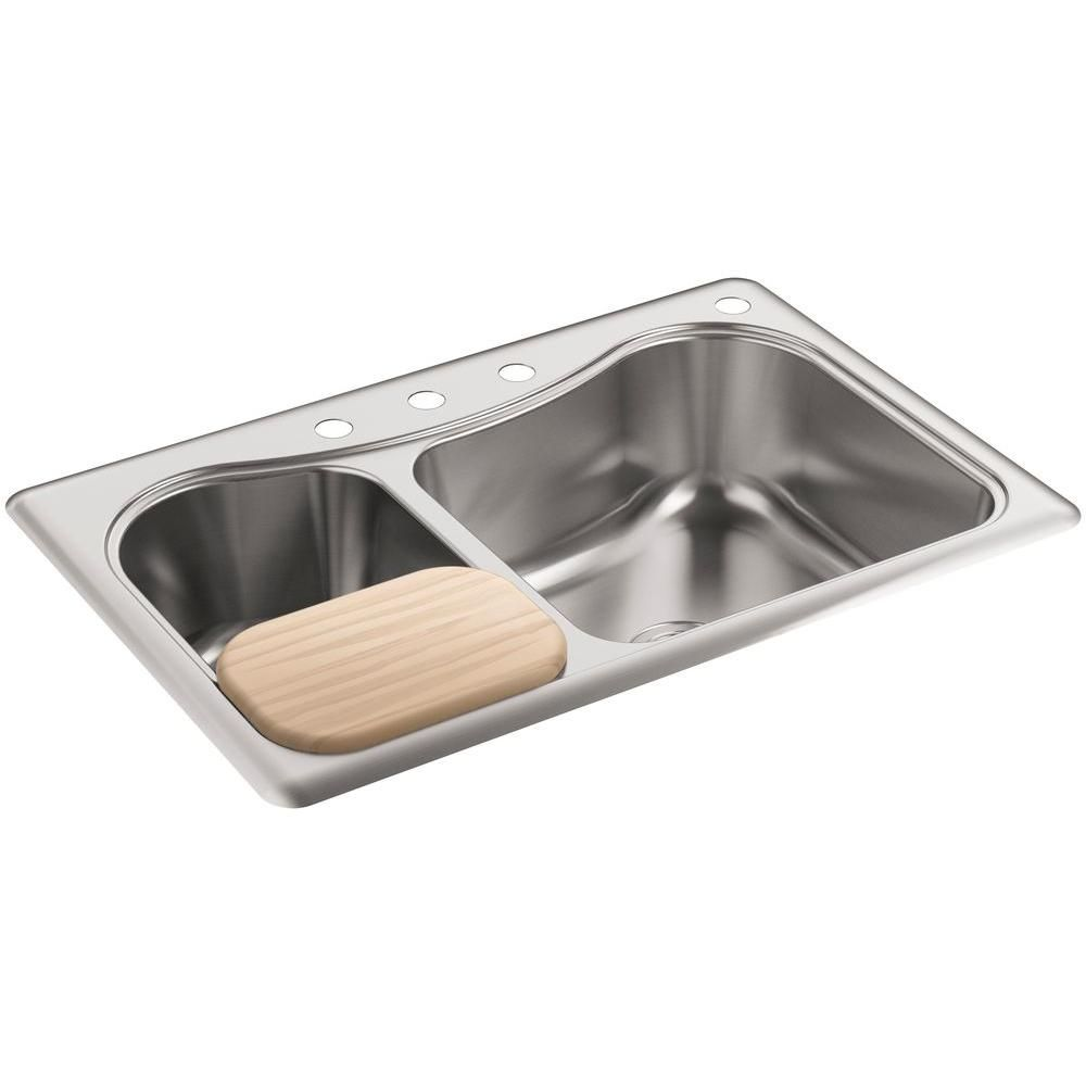 Single Or Double Bowl Kitchen Sink Staccato drop in stainless steel silver 33 in 4 hole double bowl staccato drop in stainless steel silver 33 in 4 hole double bowl kitchen sink workwithnaturefo