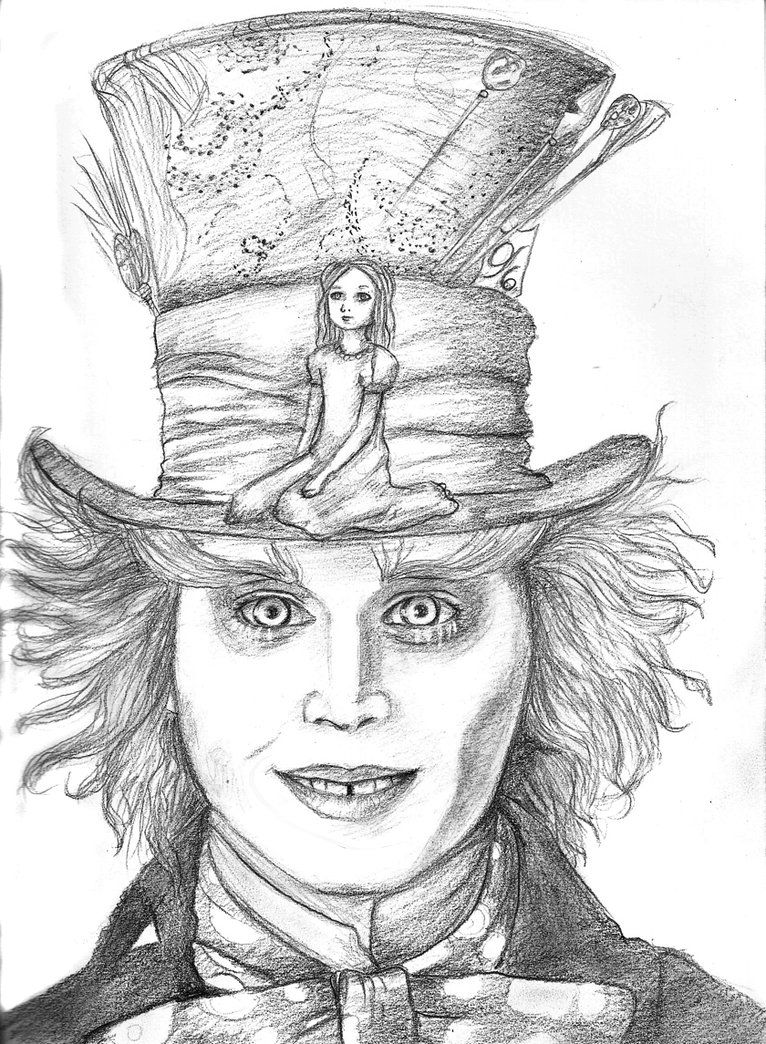 Free hatter mad pencil drawing mad hatter and alice by empsuli