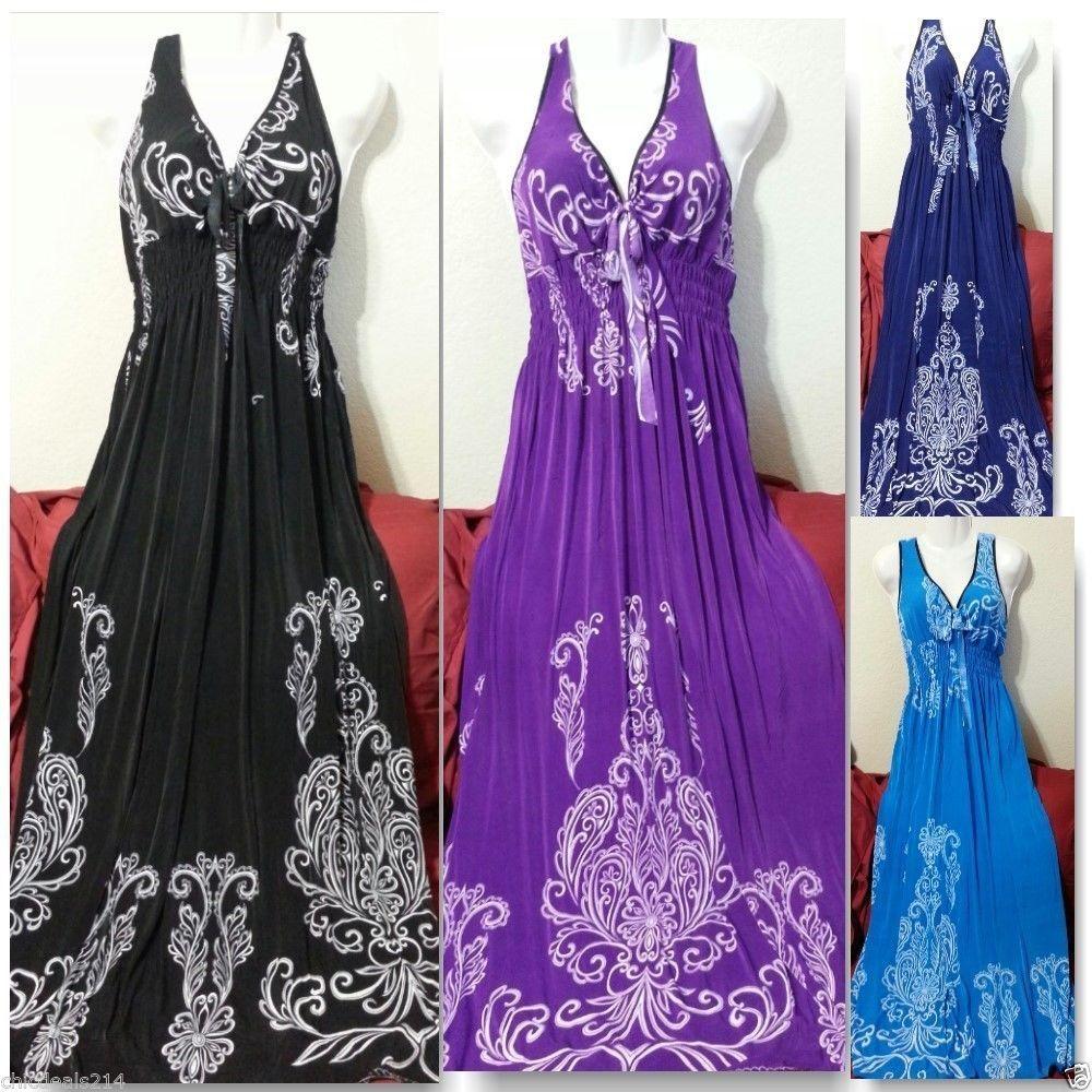 Women Long Maxi Summer Beach Hawaiian Boho Evening Sundress 2x 3x 4x Plus Size Handmade Maxi Summerbeach Clothes For Women Fashion Dresses [ 1000 x 1000 Pixel ]