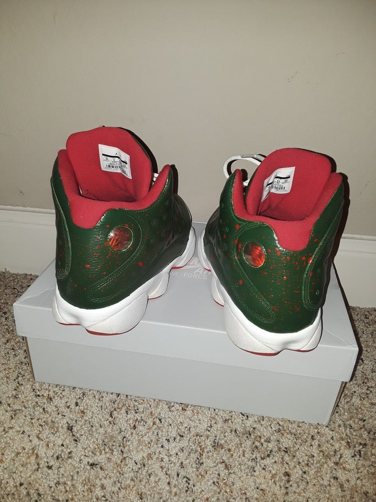 wholesale dealer b150d 18561 Olive green and red dots Custom Nike Air Jordan 13 size 10 ...
