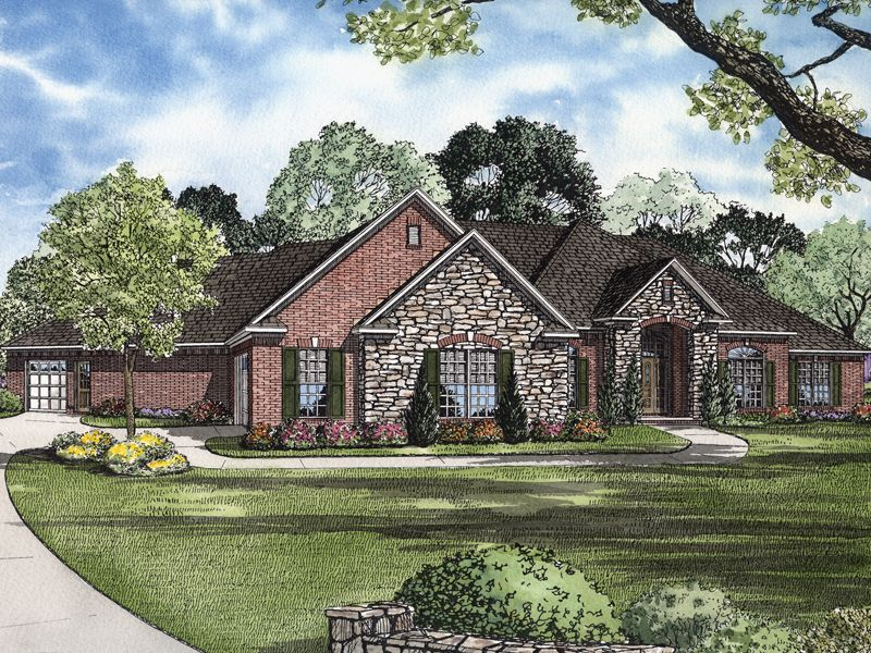 Brick and stone  House plans and Front elevation on Pinterest