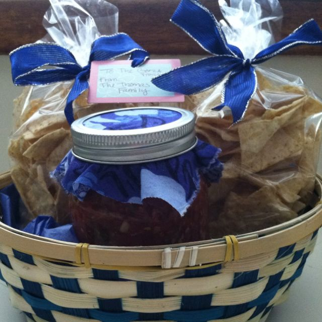 Chips and salsa gift basket! Homemade salsa with chips