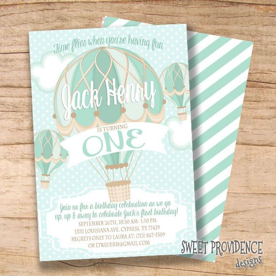 Hot Air Balloon First Birthday Invitation, Boy Invitation