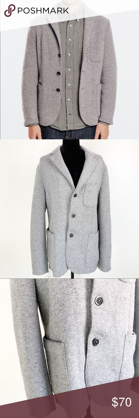 Barena Venezia Gray Felt Blazer Jacket In near new