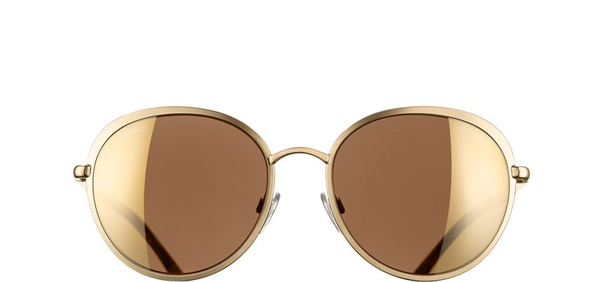 2c578d813ba6 Chanel Gold Round Signature sunglasses.  515