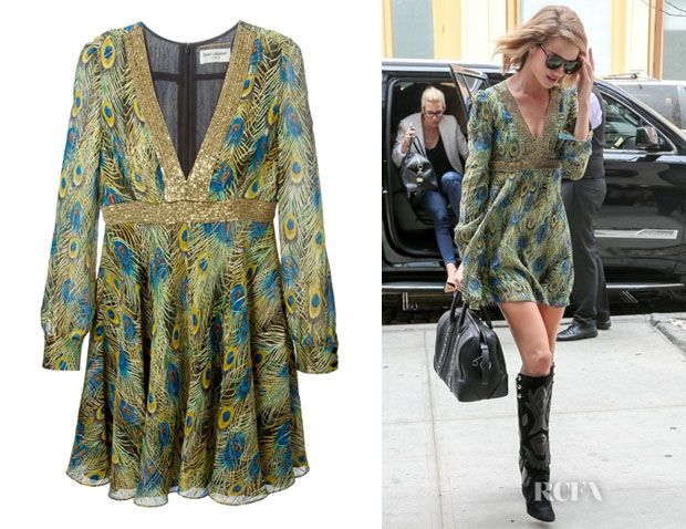 Rosie Huntington-Whiteley's Saint Laurent Peacock Print Skater Dress