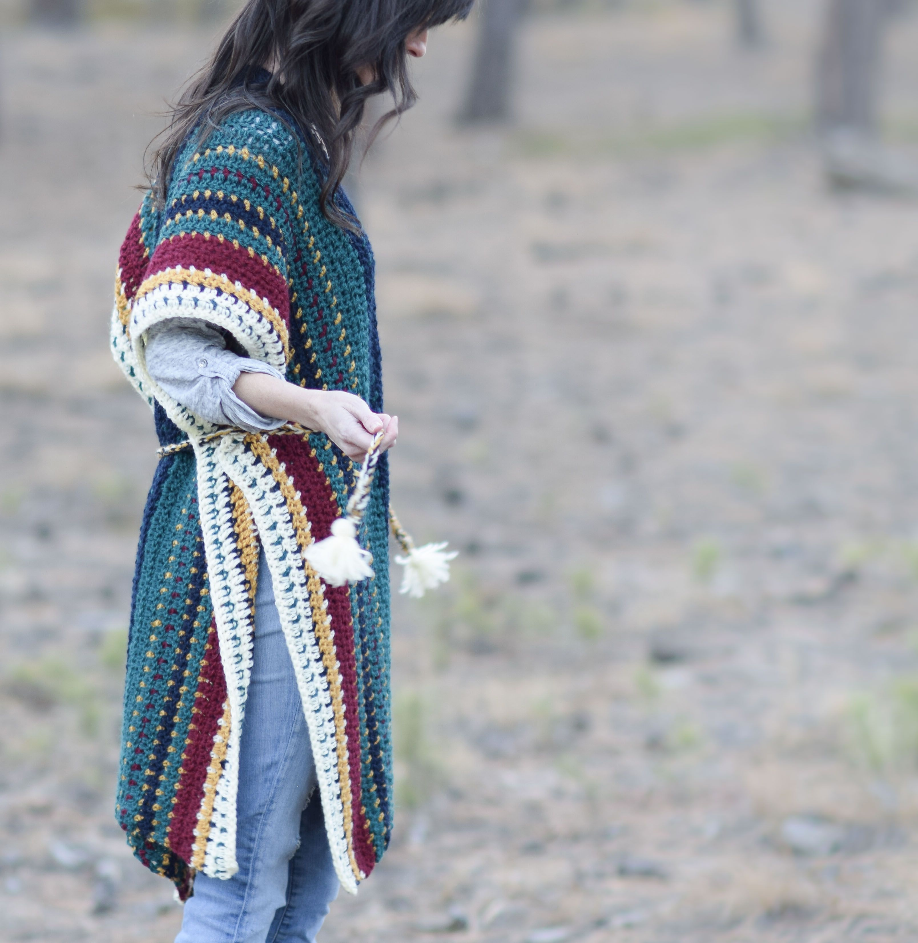 All The Colors Serape Crocheted Ruana Pattern   Pinterest   Crochet ...