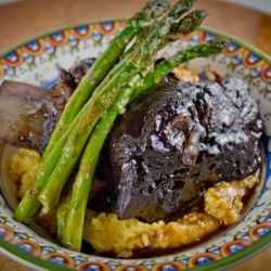 Wine braised short ribs with creamy cheddar polenta and grilled asparagus