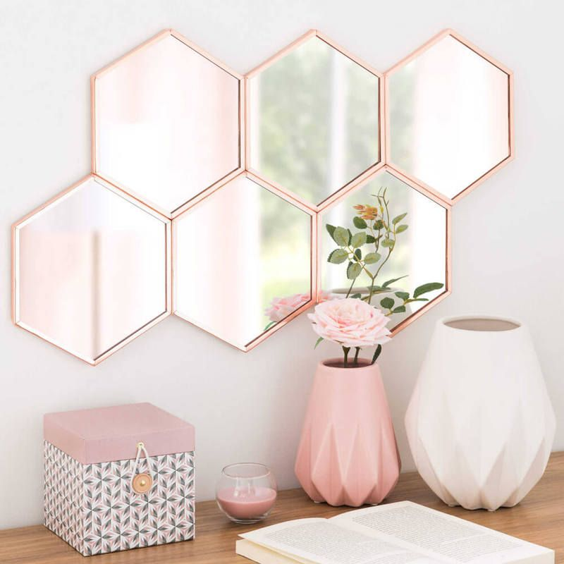 Blush Pink Hexagon Mirror Cluster Copper Frame Hexagon Shaped Wall Mirror Hexagon Wall Mirror Hexa Rose Gold Bedroom Decor Gold Bedroom Decor Rose Gold Bedroom