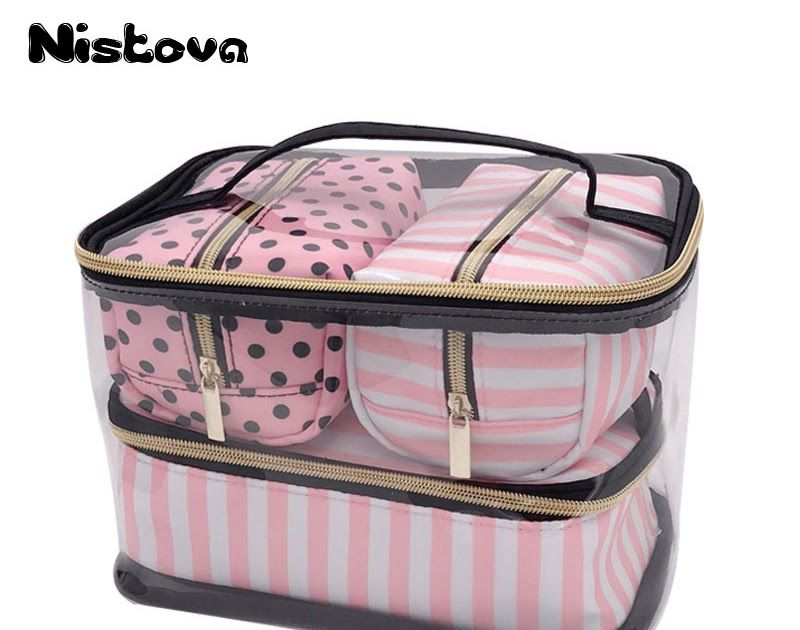 3253a31a3b0a Cheap Price PVC Transparent Cosmetic Bag Travel Toiletry Bag Set Pink  Make-up Organizer Pouch Makeup Case Beautician Vanity Necessaire Trip