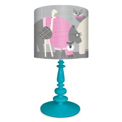 Oopsy Daisy Happy Animal Herd 21 Table Lamp Shade Color Gray Pink