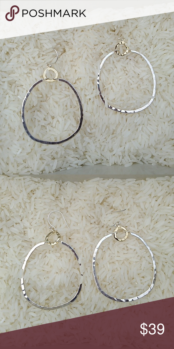 3dfd944af Silpada Dynamic Duo two tone hammered hoops .925 Silpada Sterling Silver