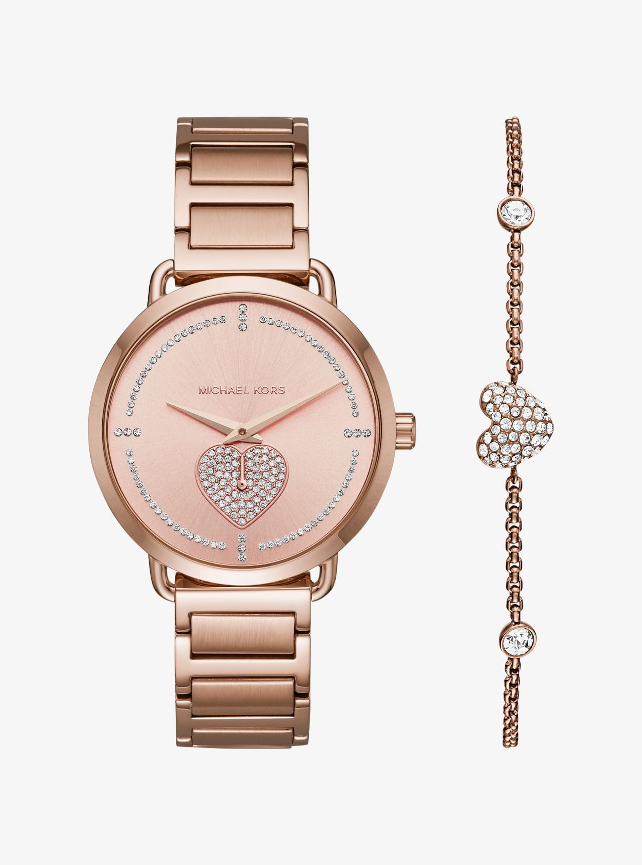 Portia Pave Rose Gold Tone Watch And Bracelet Set Gifts