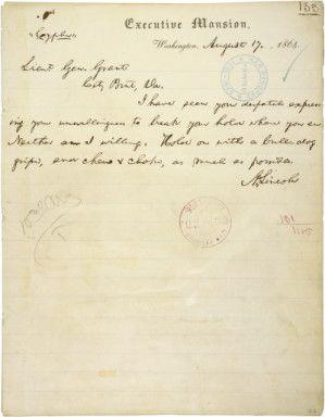 Telegram From Abraham Lincoln To Lt Gen Ulysses Grant At City