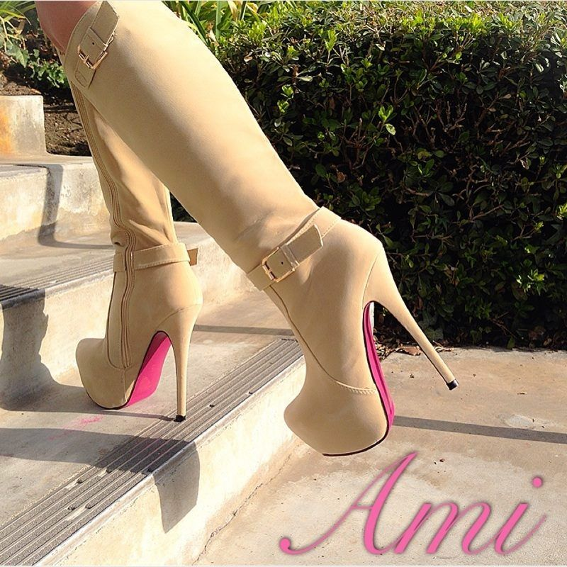 Beige Faux Suede Color Bottom Sole Knee High Boots