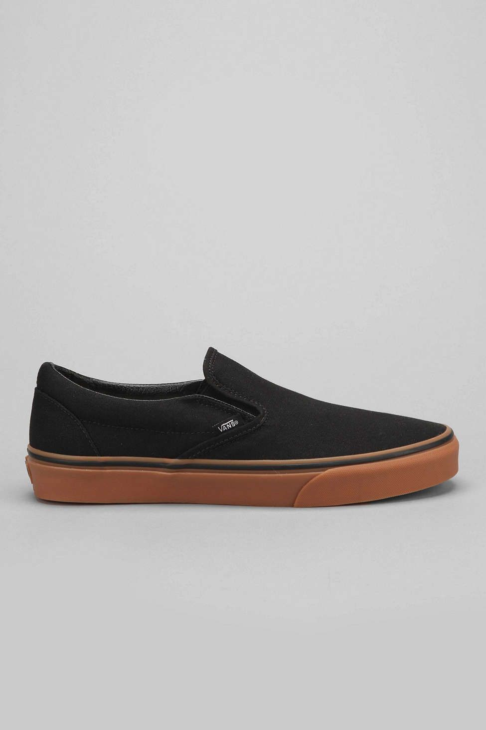 #Vans Classic Charcoal White Canvas Mens Slip-On Trainers Shoes YITf7diX