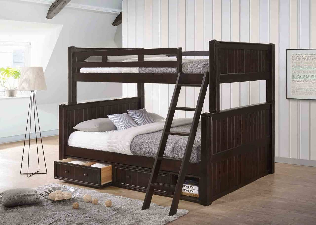 Dillon Xl Full Over Queen Wood Bead Board Bunk Bed Queen Bunk