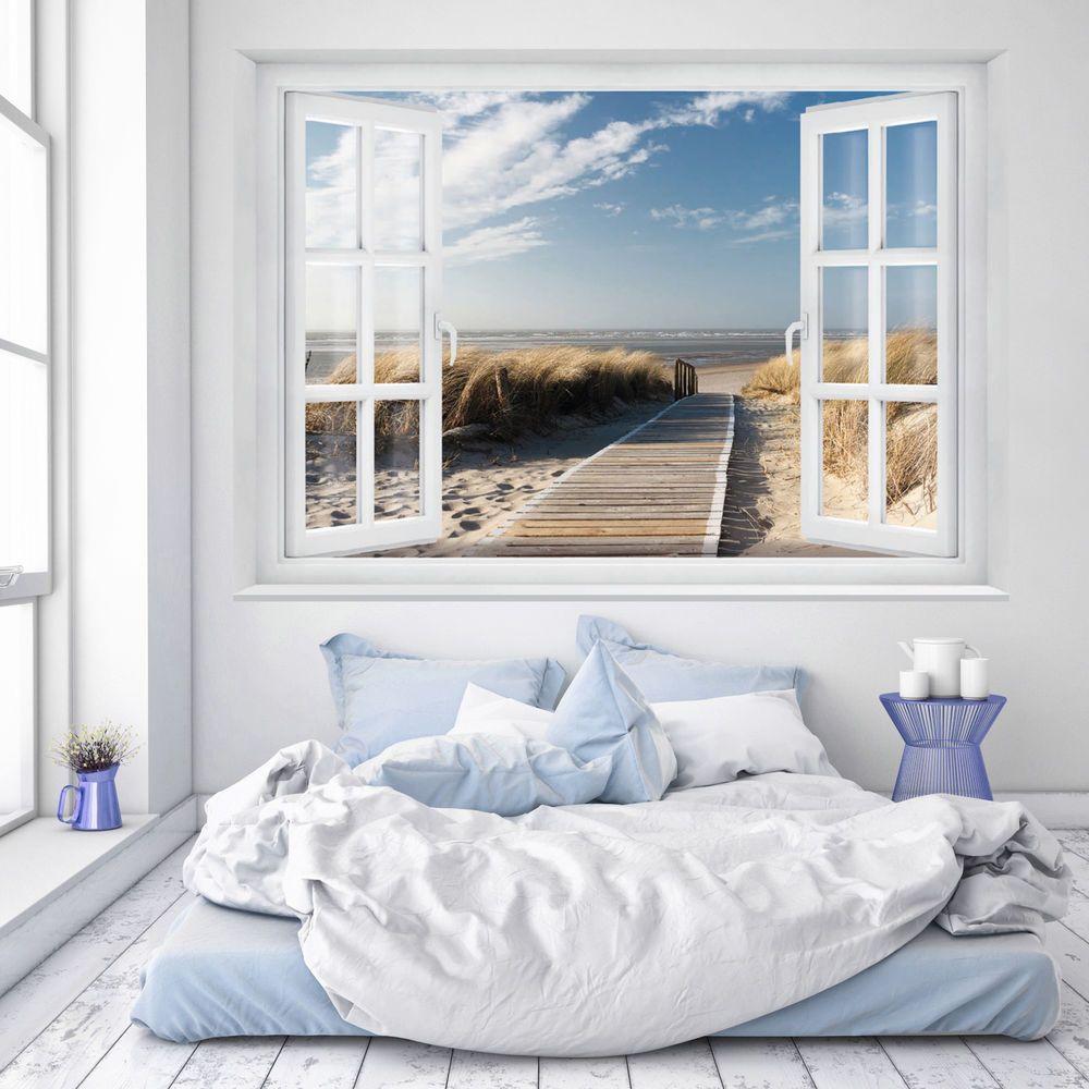 FOTOTAPETE Fenster 3D Strand 183 x 127cm Meer Strand Dünen