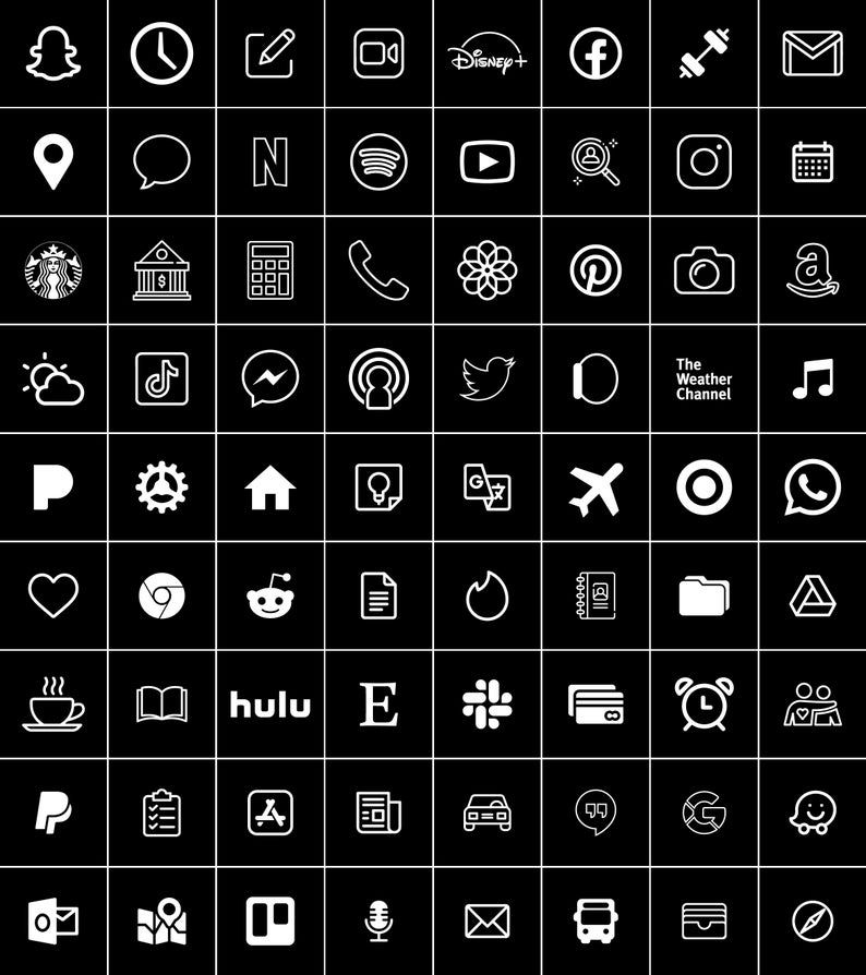 Black and White | 300 Aesthetic Custom App icons p