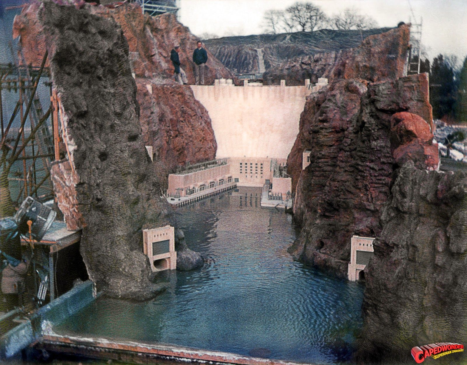 The large Hoover Dam miniature on the Pinewood backlot