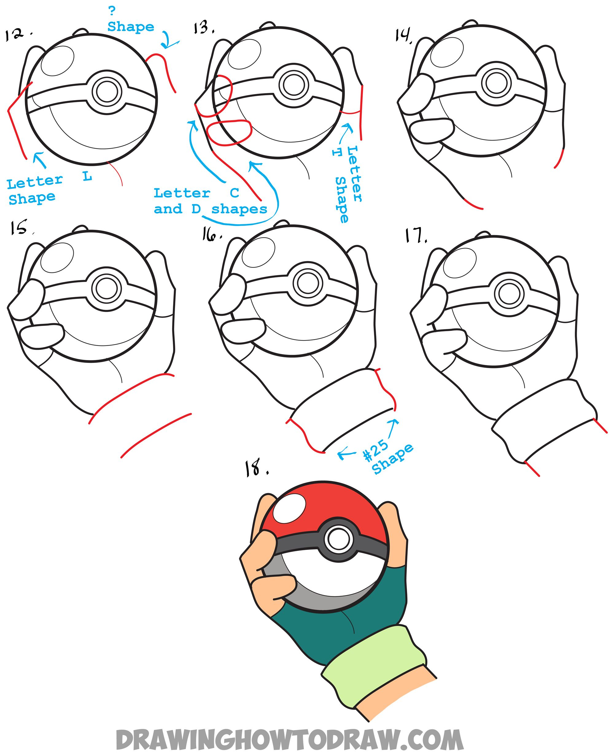 Uncategorized How To Draw Pokemon Ball learn how to draw pokeball in ashs hand easy steps pokemon drawing lesson more