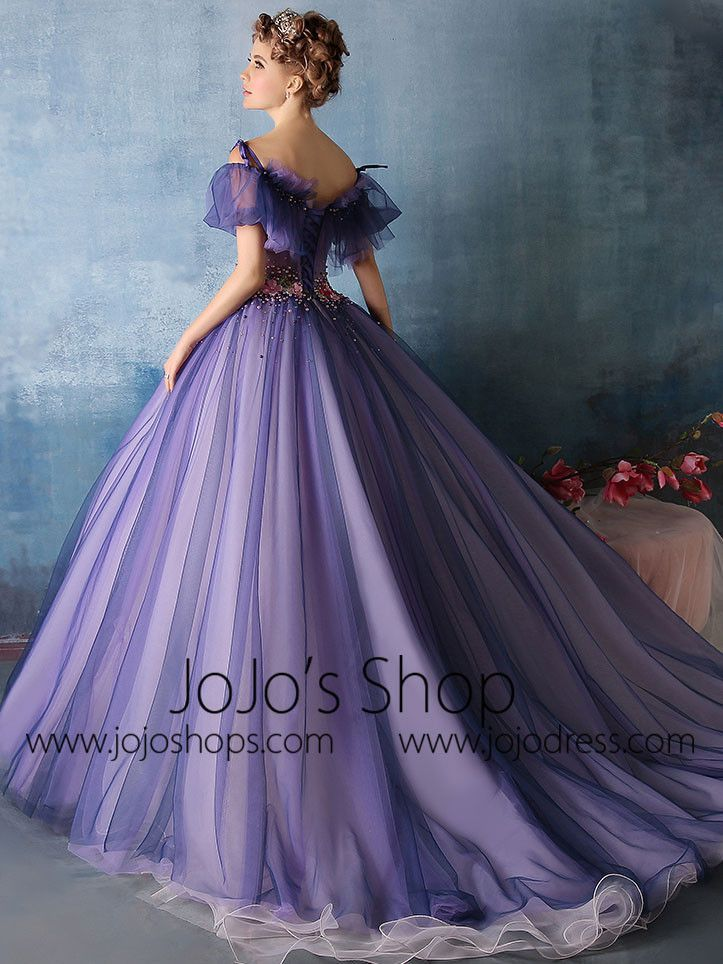 de22f9c224a Beautiful vintage inspired ball gown style evening dress with feminine  ruffled off shoulder neckline. This dress is made to order and turn around  time is ...