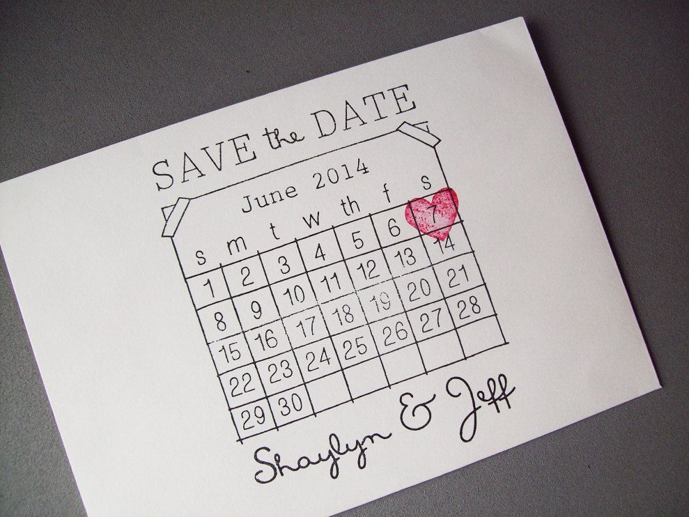 Save The Date Rubber Stamp Set Diy Calendar With Heart Over Your
