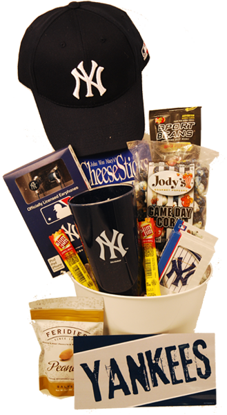 """New York Yankees Gift Basket - great gift to send for a birthday - """"You're in the Big Leagues"""" or for a get well gift to say """"hope your back at the ..."""
