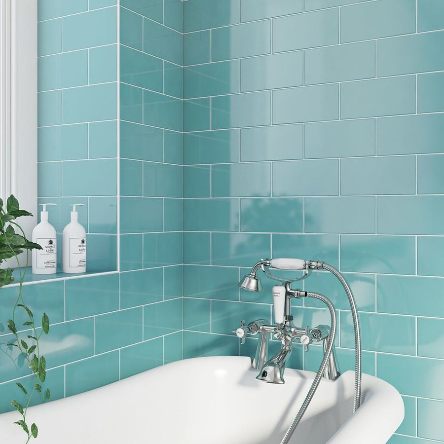 British ceramic tile metro flat powder blue gloss tile 100mm x powder gloss teal flat metro tile with bath and tap dailygadgetfo Images