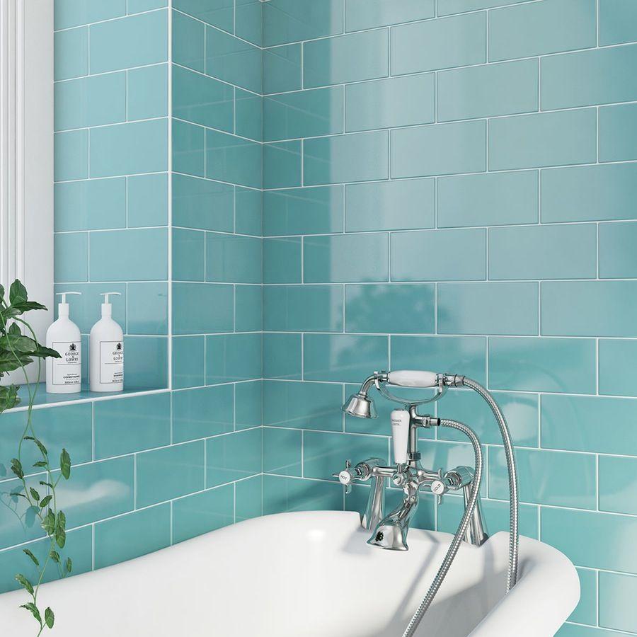 Metro Flat Powder Blue Gloss Tile 100mm X 200mm Metro Tiles