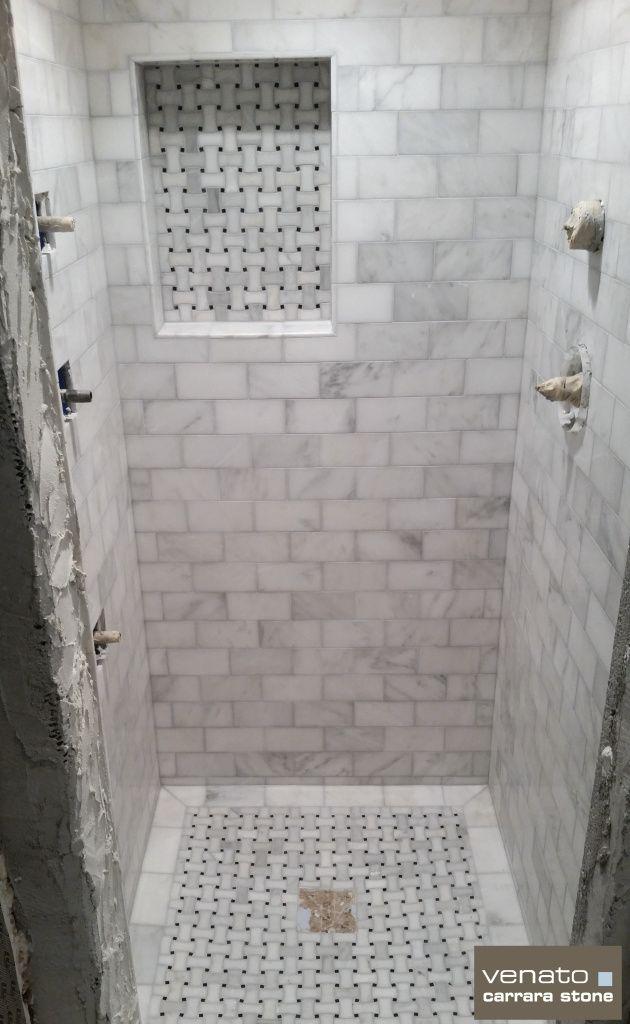 Carrara Venato Shower With 3x6 Tile And Dogbone Basketweave Mosaic